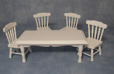 White Table & Chairs, Dolls House Miniature. 1.12th Scale Kitchen Dining Room