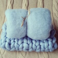 Baby Blue Newborn Photo Prop Set Basket Stuffer Baby Fluff and Blanket RTS