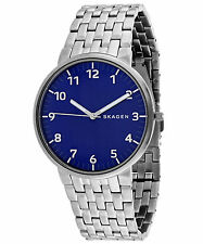 Skagen Men's Ancher Stainless Steel Blue Dial Slim Watch SKW6201