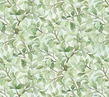 Beautiful Birds, Elizabeth's Studios, Branches of Leaves on Azure (By 1/2 Yard)