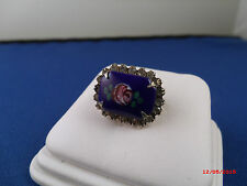 Vintage prong set coblat blue glass hand painted surrouned by rhinestones Brooch