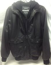 Buffalo David Bitton Bomber Biker Jacket Hoodie Faux Leather Full Zip Mens S EUC