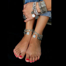 1x Silver Boho Gypsy Coin Anklet Ankle Bracelet Foot Chain Ladies Jewelry