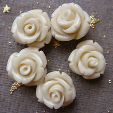 s0219 5Pcs Ivory-white Manmade Carved Rose Manmade Coral Bead
