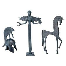 Set of 3: Hellenistic Goddess Athena Helmet Horse Iron Greek Replica Statue