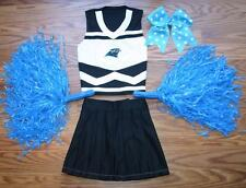 CHEERLEADER COSTUME OUTFIT CAROLINA PANTHERS POM POMS BOW UNIFORM 2 3 XS KIDS
