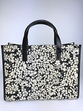 Authentic BURBERRY London ITALY Flower leather canvas tote handbag bag