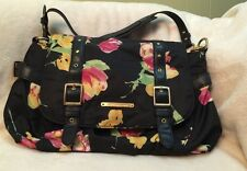 Grandmas Estate American Living Black Cotton Yellow Pink Tulips Handbag Purse