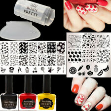 6Pcs Nail Art Stamp Plates Polish Stamper W/Scraper BORN PRETTY Fruit Design DIY