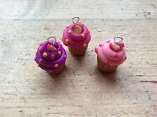 Cupcake Charms 3 Charms Cakes Pink Handmade Cute Clay Jewellery Making
