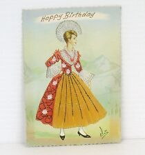 Embroidered Postcard Happy Birthday Vintage Swiss National Costume