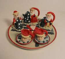 Vintage 1995 Youngs Santa & Tree Mini Miniature Resin Tea Set Collection 30319