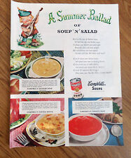 1948 Campbell's Soup Ad Campbell Kid A Summer Ballad of Soup N Salad
