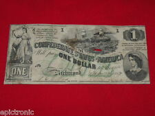 {epictronic/1862 $1 T-45 Csa Confederate States / Fine/Pf-1/Virginia Richmond!}