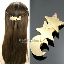 Goddess Gold Shooting Star Moon French Updo Hair Pin Clip Dress Snap Barrette