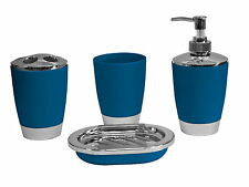Blue 4pc Bathroom Accessory Set Tumbler Lotion Tooth Brush Holder SoapTray Gift
