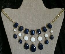 Bib Necklace navy blue white Crystal dangling cabochon chain chunky statement