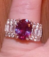 4.00 CTW  STUNNING RUSSIAN LAB  ALEXANDRITE & WHITE TOPAZ  BAGUETTE RING SIZE 5