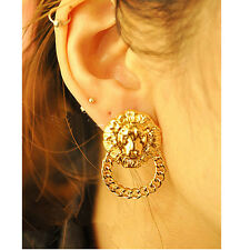Fashion Design Punk Golden Exaggerated Lion Head & Chain Charms Stud Earrings