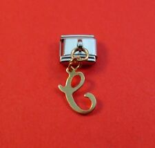 14KT GOLD EP LETTER C DANGLE INITIAL 9MM ITALIAN CHARM LINK