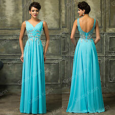 Formal Long Beaded Wedding Evening DRESS Prom Bridesmaids Masquerade Ball Gown