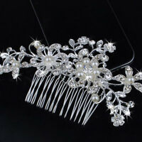 Silver Crystal Pearls Flower Wedding Bridal Hair Pin Hairpin Clip Comb Diamante