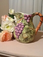 Grape vine shabby pitcher no cracks chips or crazing