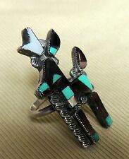 "Best! Zuni Ring Coleen Lamy Size 8 Mosaic Inlay ""Book Piece"" Pronghorn Antelope"