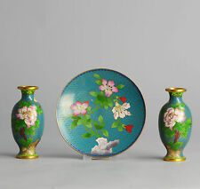Perfect SET Mid 20C Chinese Cloisonne Small Vases + Plate Flowers