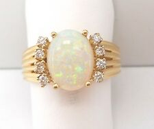 14K YELLOW GOLD OVAL OPAL AND DIAMOND RING RETAIL $620 JG1