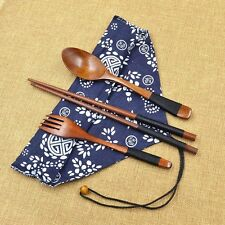 Wooden Chopsticks Spoon Fork Tableware Set Vintage New
