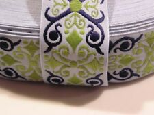 Woven Jacquard Scroll Ribbon Belts Light Blue Lime Green Navy 1.5 in  3 Yards