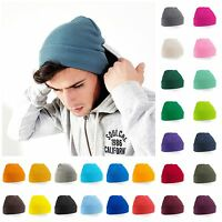 Knitted Beanie Hat Wooly Soft Warm Mens Ladies Winter Skiing Turn Up 30 Colours