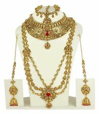 3152 Indian Bollywood Ruby Red Bridal Polki Jewelry Kundan Women Necklace set