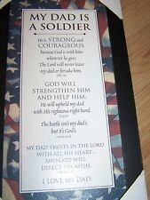 MY DAD IS A SOLDIER Black Framed Wooden Print Art Horizons Religious Plaque Sign