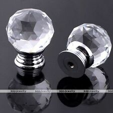30mm Ball Clear Crystal Glass Door Knob Drawer Pull Cabinet Handle Wardrobe Kit