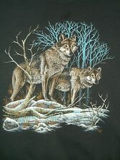 VTG early 90's WOLVES sweatshirt faded black XL 50/50 Wildlife Animals Wolf