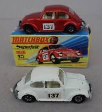 1969  Matchbox Superfast 2x  No. 15 VW 1500 Saloon + eine OVP original Box