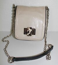 White House Black Market Ivory Snakeskin Embossed Crossbody Bag Purse
