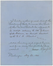 James A. Garfield Signed Document: Rare foreign affairs document as president