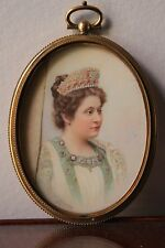 """Antique Hand Painted Portrait Miniature Of Queen sign by """" Schneeberger 1908 """""""