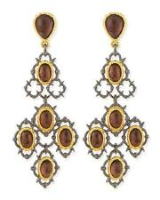 ALEXIS BITTAR ELEMENTS WOVEN BROWN CRYSTAL GOLD PLATED CHANDELIER EARRINGS $225