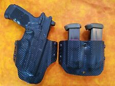 HOLSTER COMBO BLACK CARBON KYDEX FNH FNX45 FNX 45  With DOUBLE MAG HOLSTER OWB
