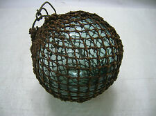 """Vintage Glass Fishing Float 6"""" in Natural Fibre NET Japanese Nautical Maritime"""