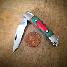 HOT SALE Mini Pocket Knife Color Wood Handle Stainless Steel Blade Charm Pendant