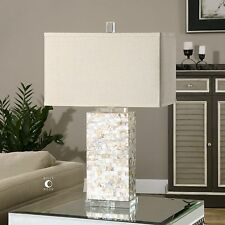 """29"""" LAYERED CAPIZ SHELL TABLE LAMP LINEN SHADE CRYSTAL FOOT ACCENTS DESK LIGHT"""