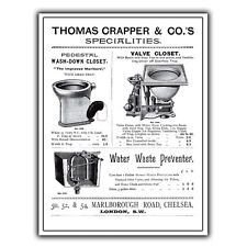 METAL SIGN WALL PLAQUE THOMAS CRAPPER & CO Toilet Design poster print picture