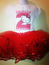 Hello Kitty dress Red NAME & Birthday Number 2pc outfit 1T,2T,3T,4T,5T,6T,7T,8T
