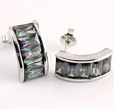 Extravagante Regenbogen Topas Ohrstecker 925 Silber rhodiniert 15 x 7,5 mm