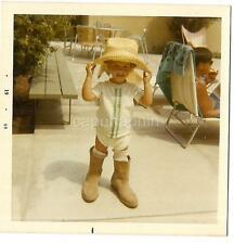 Adorable Toddler Kid In Big Flopper Hat & Oversized Boots Vintage 1969 Photo